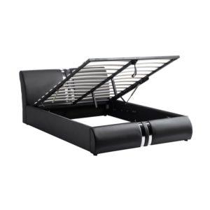Cadre de lit avec tête de lit et sommier à lattes et coffre de rangement en simili