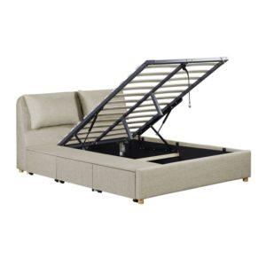 Cadre de lit avec coffre tiroir latéral en tissu