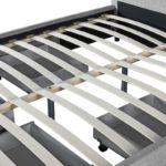 Cadre de lit avec 1 tiroir latéral droit et 2 tiroirs frontaux en tissu