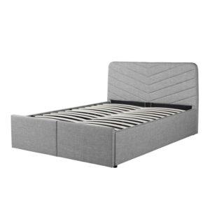 Cadre de lit avec tête de lit, sommier à lattes et 2 tiroirs en tissu