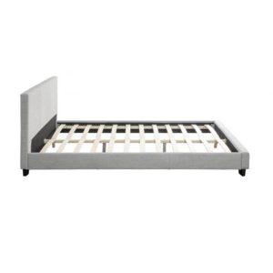 Cadre de lit avec tête de lit et sommier à lattes en tissu