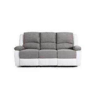 Canapé de relaxation manuel 3 places en microfibre et simili