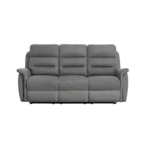 Canapé de relaxation manuel 3 places en simili et microfibre