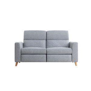 Canapé de relaxation scandinave 2,5 places en tissu et pieds bois hêtre