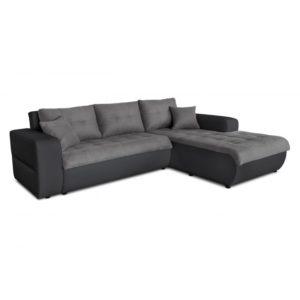 Canapé d'angle convertible 4 places en simili et microfibre