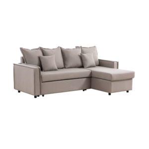 Canapé d'angle réversible convertible coutures larges en tissu
