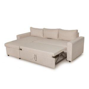 Canapé d'angle réversible, convertible en tissu avec coffre de rangement