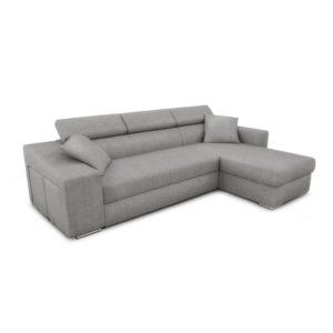 Canapé d'angle réversible, convertible avec coffre et 2 poufs en tissu
