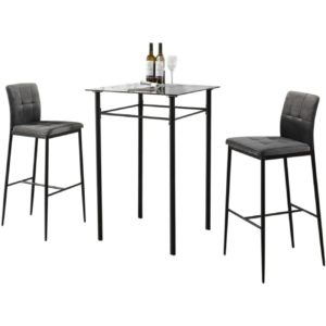 Table et tabourets de bar modernes gris