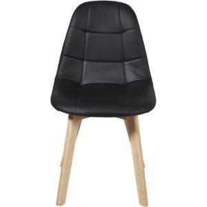 Chaise capitonnée en cuir noir