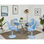 Chaise bleue avec coque rembourrée