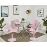 Chaise rose avec coque rembourrée
