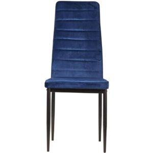 Lot de 4 chaises en velour bleu.