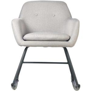 Rocking chair en bois et lin gris clair