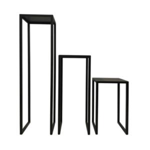 Trio de sellettes en acier noir plateaux