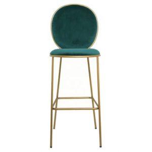 Chaise de bar en velours verte