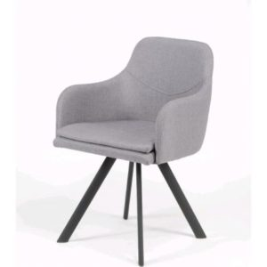 Chaise en tissu gris avec accoudoirs