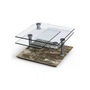 Table Basse avec socle en marbre marron