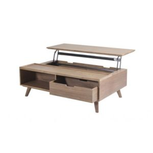 Table basse relevable rectangulaire avec tiroirs