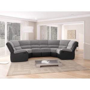 Canapé d'angle panoramique de relaxation 8 places en microfibre et simili
