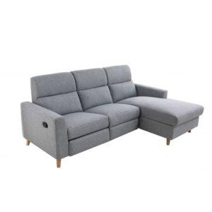 Canapé d'angle de relaxation scandinave avec coffre en tissu et pieds bois hêtre