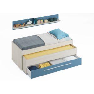 Lit enfant gigogne avec 1 tiroir et 1 étagère