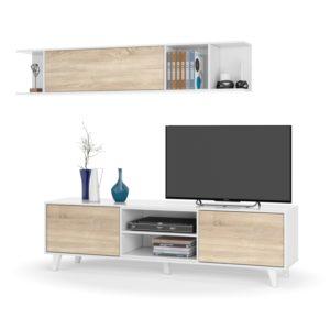 Meuble TV 2 portes avec 2 niches et étagère murale