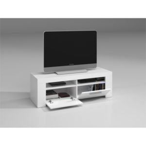 Meuble TV avec 2 portes et 2 niches de rangement L120 cm