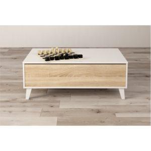 Table basse avec panneau central relevable L100 x P68 cm