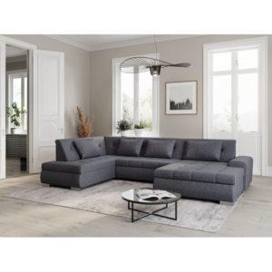 Canapé d'angle panoramique convertible en tissu