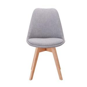 Lot de 2 chaises tissu pieds hêtre naturels